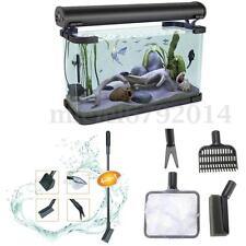 4in1 Aquarium Cleaning Kit Tool Fish Tank Gravel Cleaner Fork Net Algae Scraper