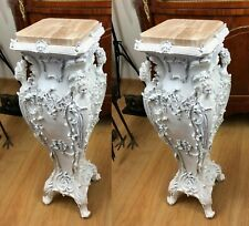 PILLARS BAROQUE STYLE PILLARS WITH MARBLE TOP - WHITE  #LU95