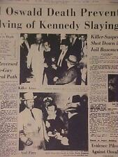 VINTAGE NEWSPAPER HEADLINE~CRIME PRESIDENT KENNEDY ASSASSIN OSWALD GUN SHOT DEAD