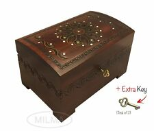 Large Wood Chest Polish Handmade Floral Wood Jewelry Keepsake Box Lock & Key
