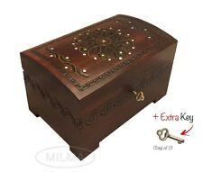 Large Wood Chest Polish Handmade Floral Wood Jewelry Keepsake Box Lock & Key