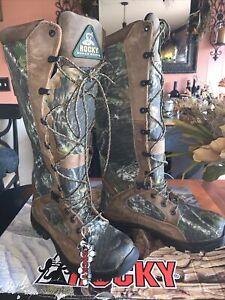 Rocky Mossy Oak Waterproof/Snakeproof Boots Men's Sz 6M