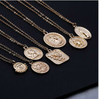 Coin Necklace Square Rose Pendant Roman Coin Stacking Layering Gold Silver