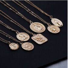 Coin Necklace Square Rose Pendant Angel Rose Coin Stacking Layering Gold Silver