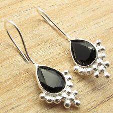 925 Silver Overlay Earrings 3.2 cm ! BLACK ONYX Gem Women Fashion Jewelry