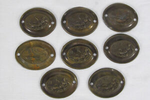 8 Antique 1778-1810 Drawer Pull Stamped Brass Backplates Reclining Goddess yqz