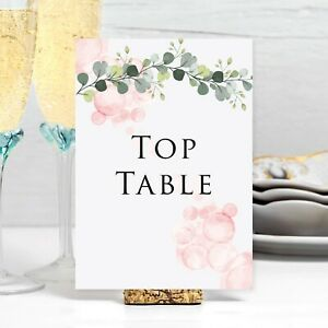 Table Number Wedding Number Cards Venue Decor Eucalyptus Leaves Green