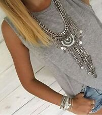 Boho Bohemian Statement Necklace, Crystal & Coin Necklace