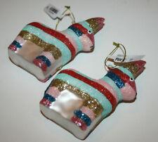 Pier 1 Glitter Zebra Horse Lama Christmas Ornament set of 2 Nwt Rainbow stripes