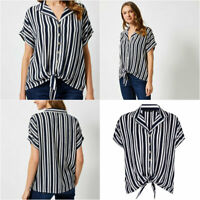 DP Dorothy Perkins Womens Navy & Ivory short Sleeve Striped Tie front Blouse Top