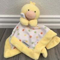 Carter's Yellow Duck Polka Dot Baby Security Blanket Lovey Lovie Plush Toy