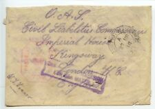 Salvaged Mail 1918.3 OAS cover violet cachet DAMAGED BY IMMERSION/ IN SEA WATER