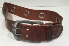 Diesel Mens Leather Belt Grommet Metal Buckle Brown Small S Animma Df6800-A00