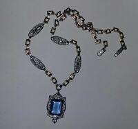 Antique Vintage 20's 30's Czech French Art Deco Era Necklace Blue Rhinestone