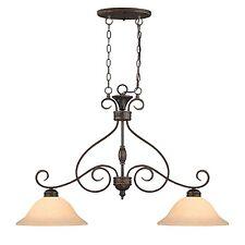 7162-BZ/G 2 light island pendant rubbed bronze pool table light