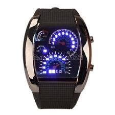 Luxury Sports Turbo Blue Flash LED Car Speedometer Meter Dial Men Wrist Watch