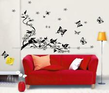 Large BUTTERFLIES VINE FLOWERS Wall Stickers Mural Art Decal Reusable& Removable