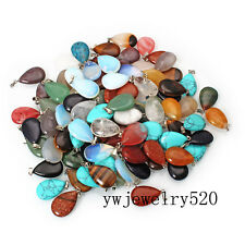 Wholesale Lot 50pcs Natural Gemstone Drop Silver Plated Beads Pendant FREE