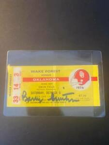 Barry Switzer signed 1974 ticket stub autograph Oklahoma Sooners champs
