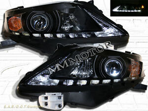 Fit For 2010-2012 Lexus RX350 Projector Black Housing Headlights w/ LED Strip