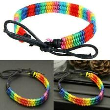 Pride LGBT Rainbow Unisex Leather Bracelet Gay Pride Jewellery Lesbian Bise X6A7