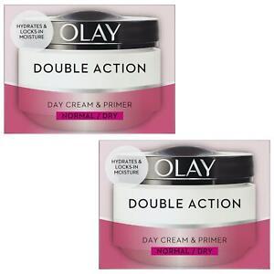2 Olay Double Action Moisturiser Day Cream & Primer Normal Dry Skin Classic 50ml