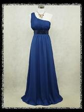 dress190 BLUE CHIFFON ONE SHOULDER SPARKLE EVENING PARTY WEDDING DRESS PROM 20