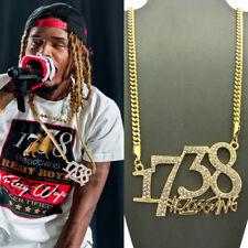 ICED 1738 FETTY WAP ZOO GANG PENDANT CUBAN LINK CHAIN NECKLACE 14K GOLD HIP HOP