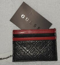 NEW GUESS FAUX LEATHER CREDIT CARD CASE MEN'S BLACK RED WALLET.