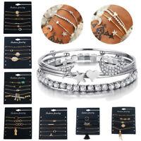 Fashion Women Gold Silver Punk Cuff Bracelet Bangle Chain Wristband Jewelry Set
