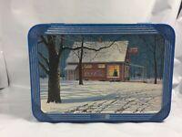 Coca Cola Tin Box Collectible Container Snow Barn House Winter Christmas Rare FS