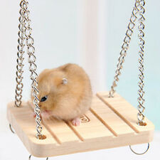 Wooden Hamster Toy Swing Rat Bird Mouse Exercise Cage Hanging Bell Pet Play UK