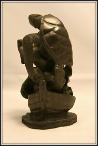 """Amazing """"Hand Carved Cuban Guayacan Wooden Sculpture of Sealife (6"""" H x 3""""W)"""