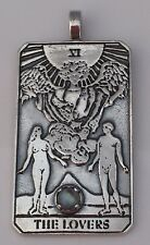LOVERS Tarot Card Pendant .925 Sterling Silver w/ Genuine Rainbow Moonstone gem