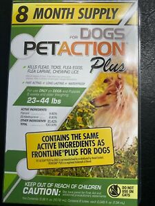 8 Month Supply Pet Action PetAction Plus Flea Tick Drops Medium Dogs FREESHIPING