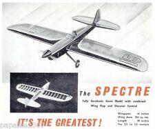 "Model Airplane Plans (UC): Spectre 41"" Stunt for 2.5-3.5cc (.15-.20ci) KeilKraft"