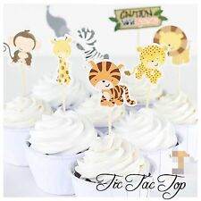 🦁12pcs Jungle Animal Safari Zoo Food cupcake topper. Cake Party Supplies Flag