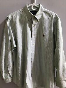 Mens 16.5 34/35 RALPH LAUREN POLO Pale Green,Purple,White STRIPED LS Shirt *EUC*