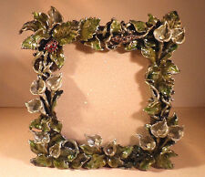 Jeweled Enamel Picture Frame with Calla Lilies, Creatures, and Rhinestones, New