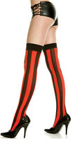 Black Two Toned Opaque Vertical Wide Striped Thigh High Hi Stockings Halloween