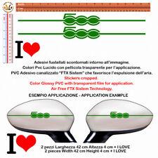 adesivi SPECCHIETTI FIAT 500 verdi sticker cropped I LOVE green Wing Mirror 4pz.