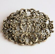 Openwork Cherub Brooch Pin, Signed Miracle Creation, Vintage Jewelry