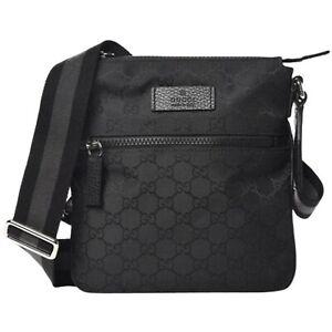 New Gucci Black Canvas Leather GG Supreme Monogram Messenger Crossbody Bag