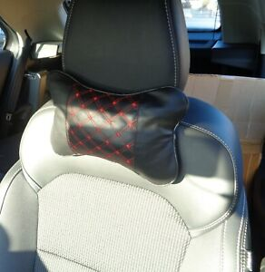 """MG3 MG6 MG ZS """"PAIR"""" BLACK & RED PIPING HEADREST HEAD/NECK CUSHIONS  NEW PRODUCT"""