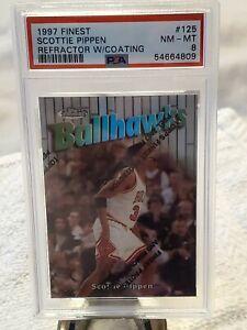 1997-98 Topps Finest Ref  125 Scottie Pippen Ballhawks Rare /1090 W/Coat PSA 8