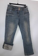 Roberto Cavalli Women's Sz 42 Distressed Denim Cropped Capri Jeans Pants