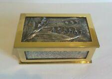 Art Nouveau Polished Brass & Sterling Silver Custom-Made Casket / Box, Signed