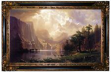 Bierstadt Among the Sierra Nevada California -Gold & Black Framed Canvas  24x37