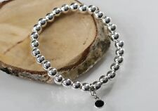 Perlenarmband Damen silber Heamtite Perlen Anhänger Schmuckstein schwarz dehnbar