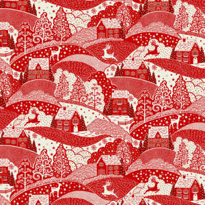 Makower Christmas Scandi Scenic Red 100% COTTON FABRIC CRAFT/QUILTING per1/4m